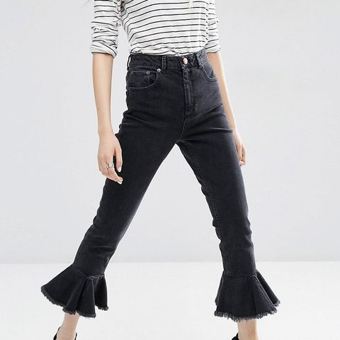 Farleigh High Waist Slim Mom Jeans in Washed Black With Flared Frill Hem