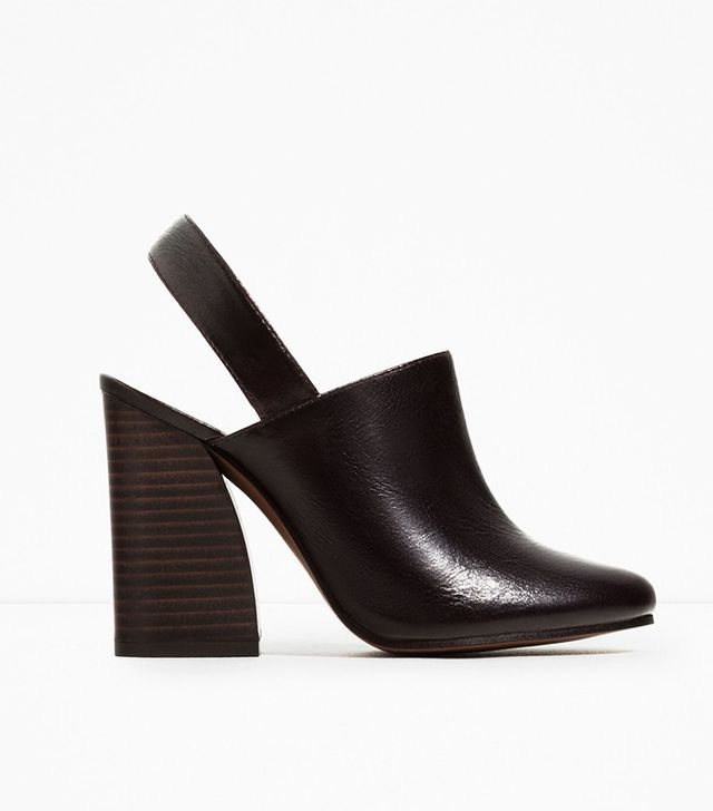 Zara Leather Slingback High Heel Shoes