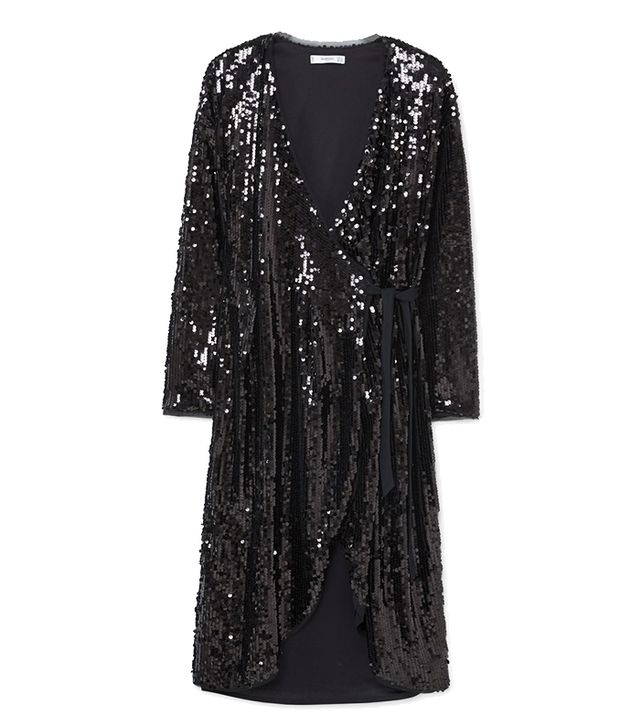 Mango Sequin Wrap Dress