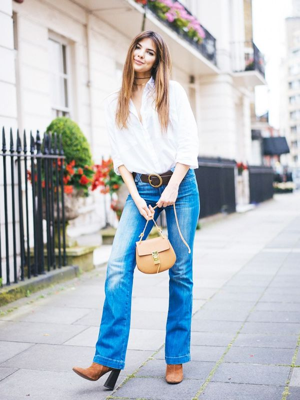 Flares + Button-Down + Suede Boots