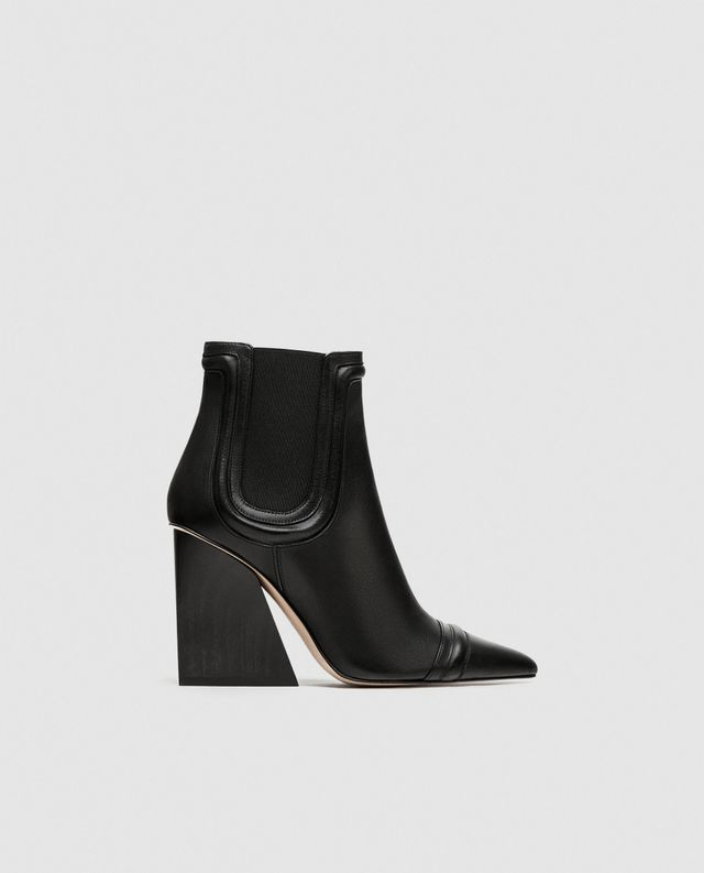 Zara High Heel Leather Ankle Boots With Elastic Sole Tabs