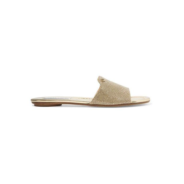 Jimmy Choo Nanda Glitter Canvas Slides