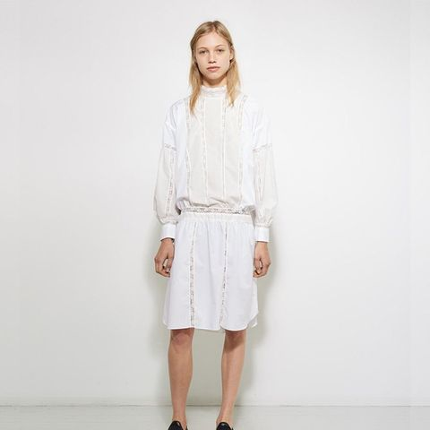 Lace-Trimmed Poplin Dress