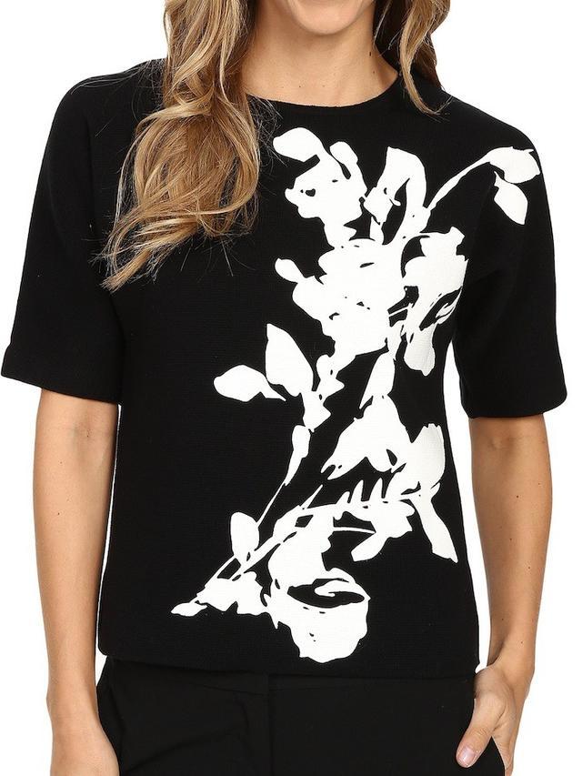 Calvin Klein Short Sleeve Printed Sweater Top