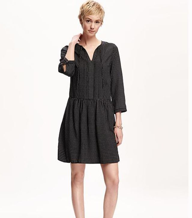 Old Navy Pleated Tie-Neck Swing Dress