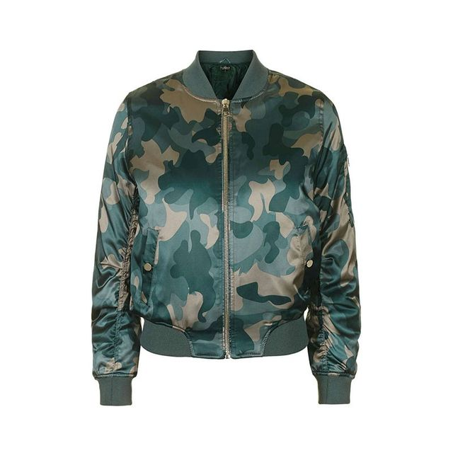 Topshop Shiny Camo Print Jacket
