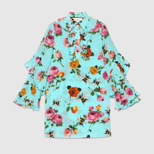Gucci Rose Print Silk Ruffle Dress