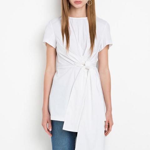 White Waist Tie Knot Top