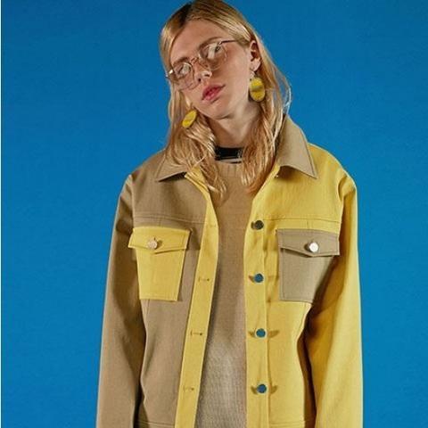 Half and Half Jacket Yellow Pastel