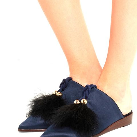 Sofie Feather-Embellished Satin Slippers