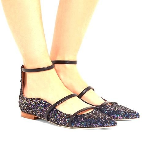 Glittered Leather Point-Toe Flats