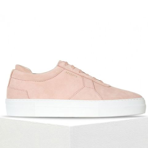 Platform Sneaker in Nude Suede