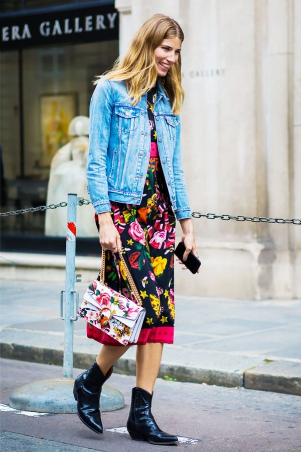 7. Denim Jacket + Floral Dress + Flat Boots