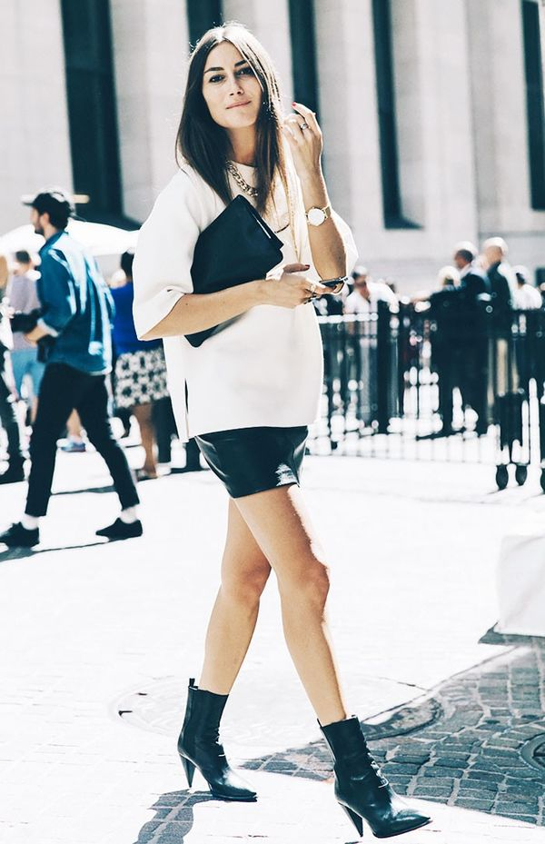 4. Boxy Blouse + Leather Skirt + Mid-Calf Boots