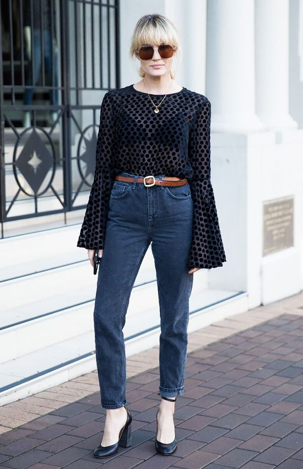 3. Bell-Sleeve Blouse + High-Rise Denim + Block Heels