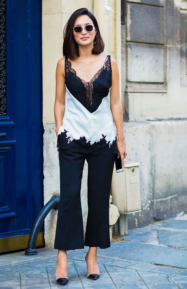 5. Lace Cami + Cropped Trousers + Pumps