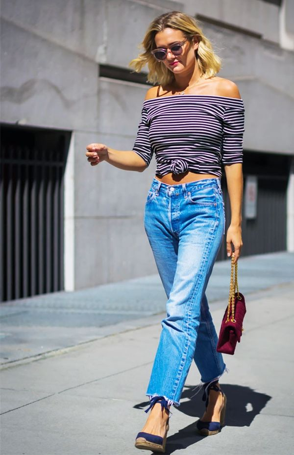 1. Off-the-Shoulder Top + Jeans + Wedges