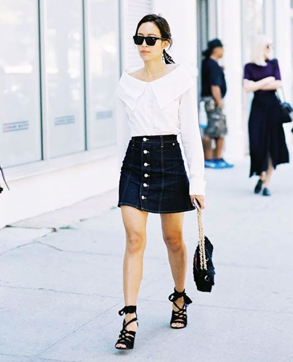 6. Off-the-Shoulder Top + Denim Miniskirt + Lace-Up Sandals