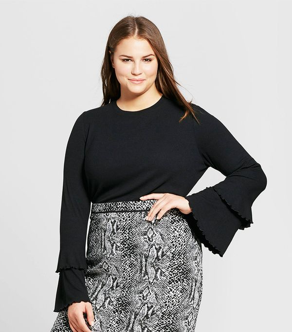 Plus Size Ruffle Bell Sleeve Ribbed Top