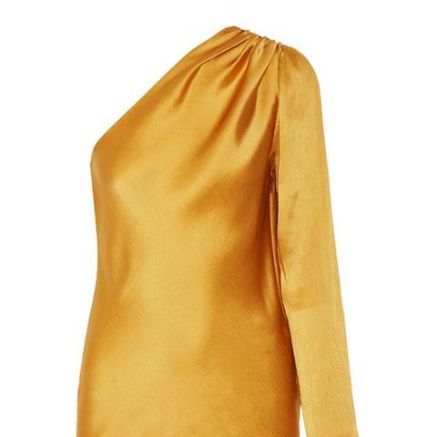 One-Shoulder Silk-Satin Top