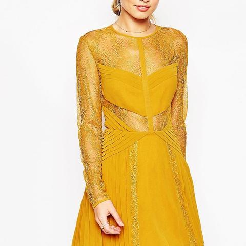 Lace and Pleat Detail Mini Dress