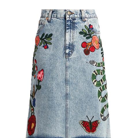 Embroidered-Motif Cotton-Denim Skirt