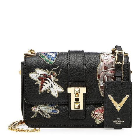 Leather Shoulder Bag With Embroidered Motifs