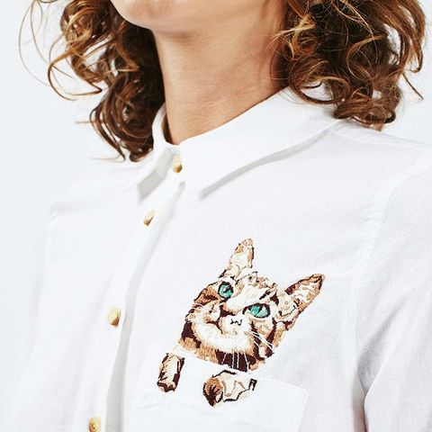 Cat Embroidered Shirt