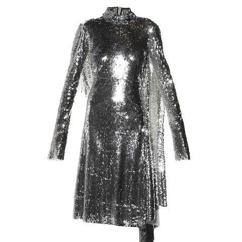 Open-Back High-Neck Sequin Dress