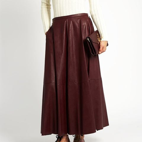Mid-Rise Faux-Leather Midi Skirt