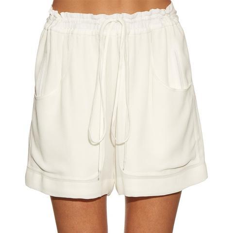 Wide-Leg Crepe Track Shorts