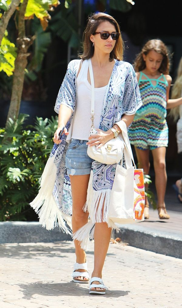 Top your shorts off with a kimono.