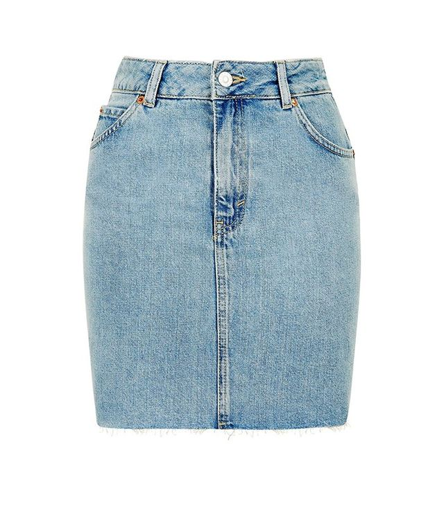 Topshop Moto Raw Hem Denim Skirt