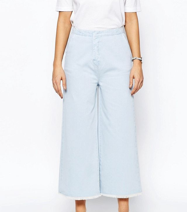 ASOS Denim Super Wide Leg Jeans With Raw Hem in Light Blue Wash