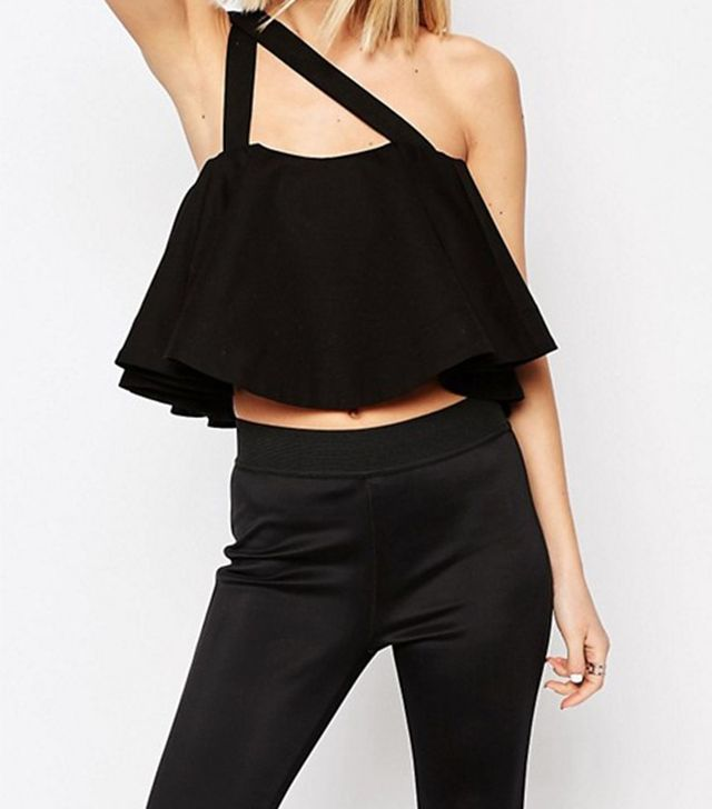 ASOS White Frill Crop Top With Strap Detail