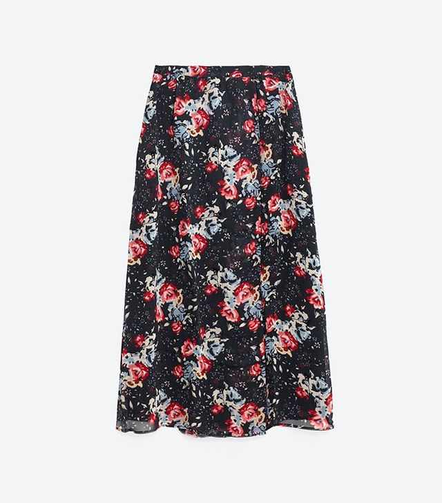 Zara Long Printed Skirt