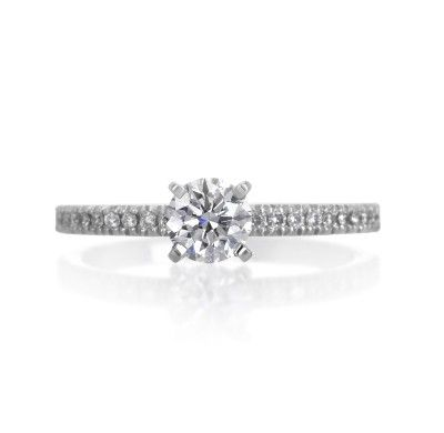 Michael C. Fina Platinum 0.50ct Round Engagement Ring