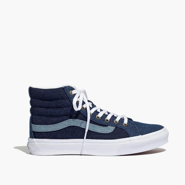 Madewell x Vans Sk8-Hi Slim High-Top Sneakers in Denim