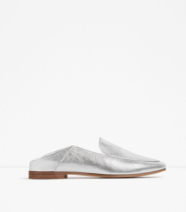 Zara Metallic Leather Loafers