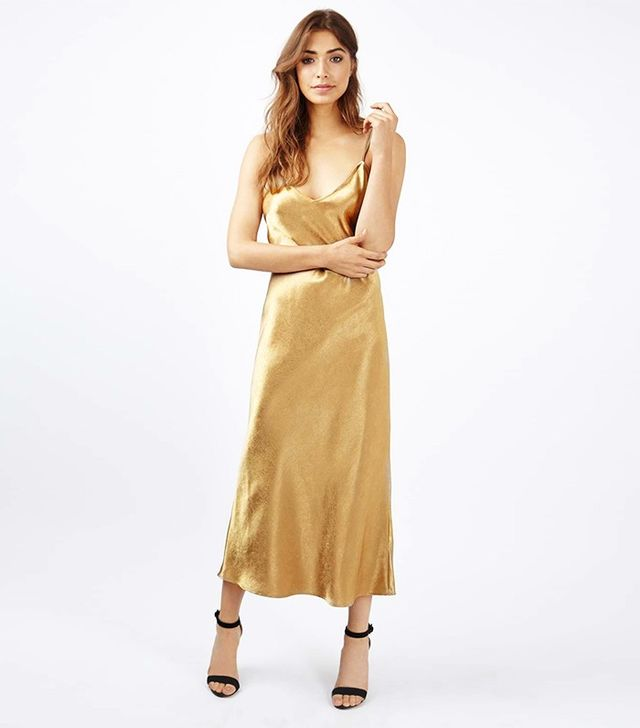 Topshop Two Strap Satin Midi Dress