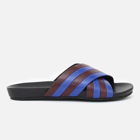 Jourdena Leather Criss-Cross Pool Slides