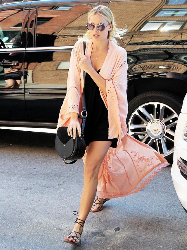 On Margot Robbie: Isla Bonita Embroidered Kimono($185).
