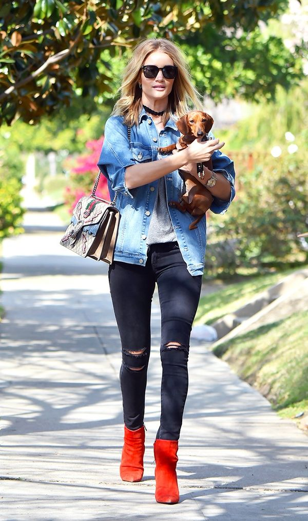 On Rosie Huntington-Whiteley: Mother Brother Denim Jacket($275); Gucci Dionysus GG Supreme Shoulder Bag($3400); Paige Denim Verdugo Ultra Skinny Jeans($199); Balenciagaboots.