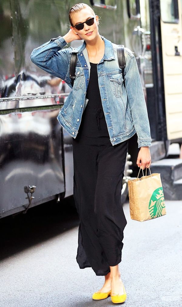 On Karlie Kloss:Mother jacket; Repetto Cendrillon Ballet Flats($295).