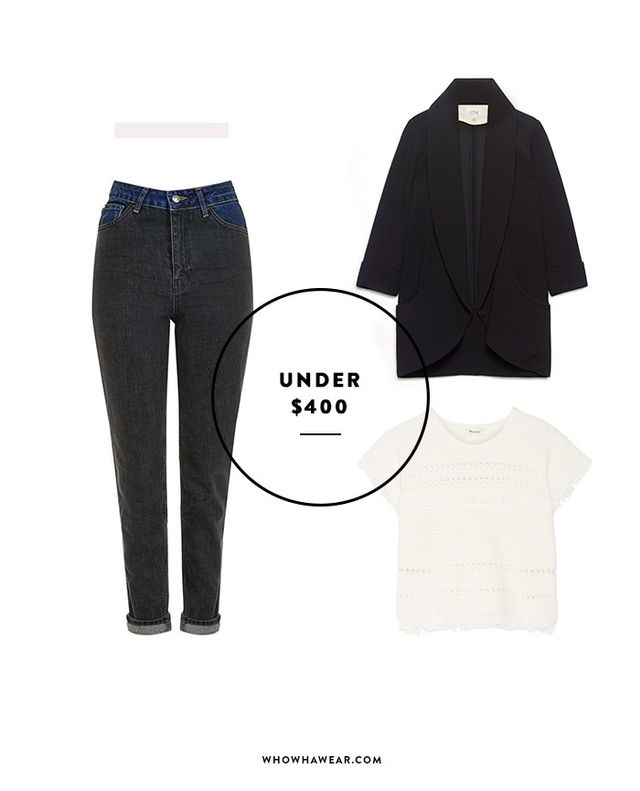 SHOP: Madewell Cutout Fringed Top ($80); Topshop Moto Mom Jeans ($70); Wilfred Chevalier Jacket ($225).