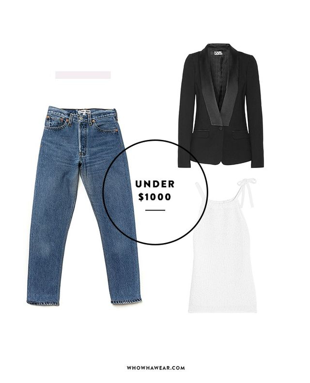 SHOP: Rag & Bone Willa Top ($195);Karl Lagerfeld Satin-Trimmed Blazer ($365); Re/Done High-Rise Crop Jean ($265).