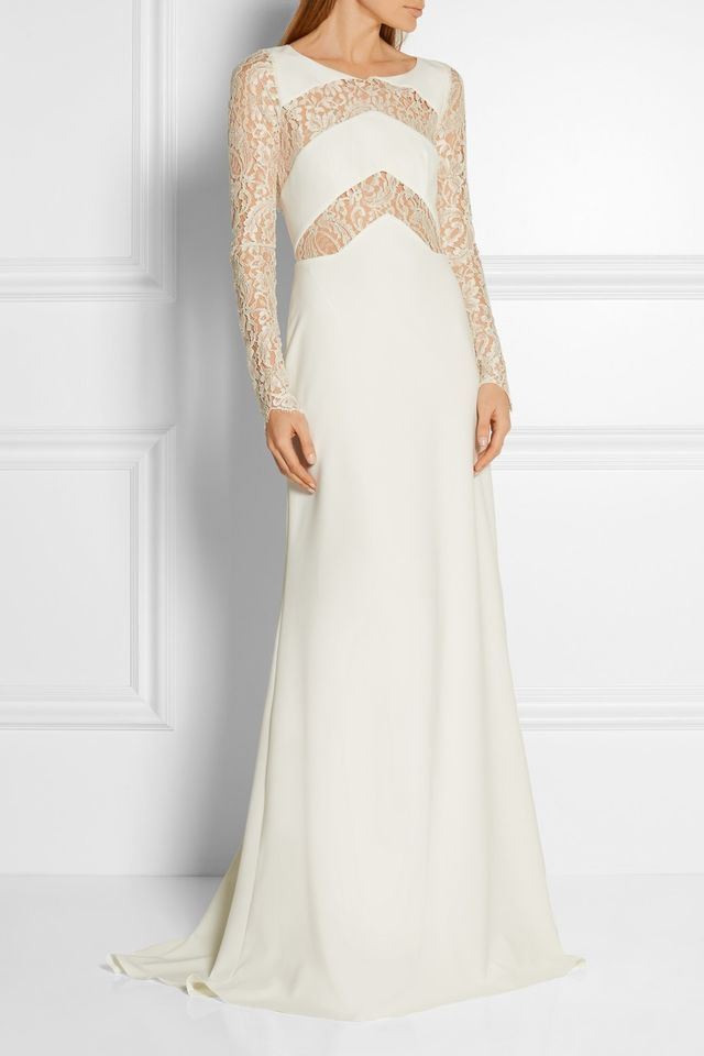 Rime Arodaky Olsen Lace-Paneled Twill Gown