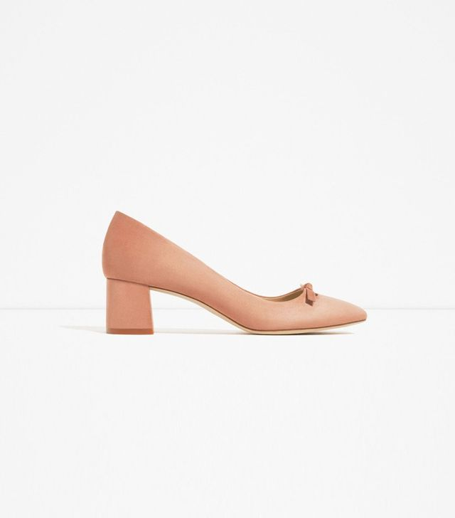 Zara High Heels Shoes With Bow Detail