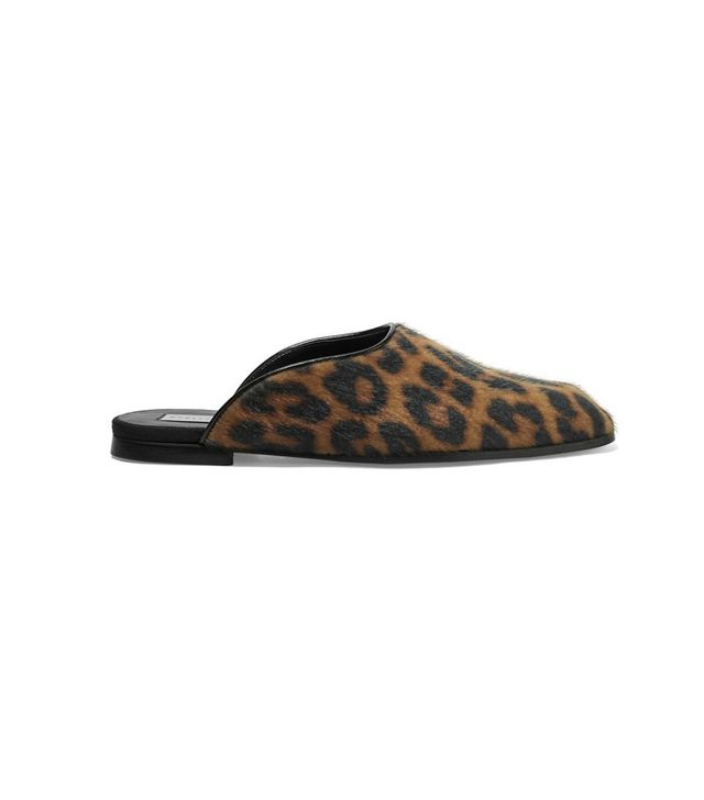 Stella McCartney Leopard-Print Faux Calf Hair Slippers