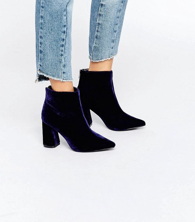 ASOS Daisy Street Velvet Point Heeled Ankle Boots